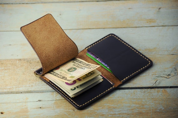 personalized money clip wallet money clip card holder horween chromexcel leather amazing world of handmade gifts - Money Clip And Card Holder