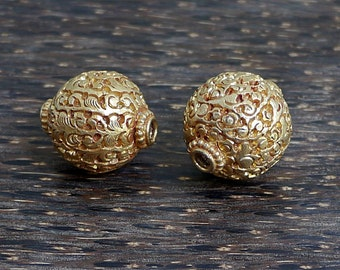 Two Large Tibetan Gold Plated Beads