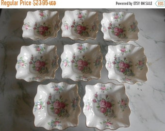 SALE Rosina China, Made in England, Set of EIGHT dessert or sauce bowls, nut or candy dishes, excellent condition, Bone China, Roses w/ gold