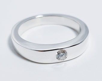 Sterling Silver Simple Diamond Ring   Single Diamond Ring Band, Sterling  Silver Diamond Ring,