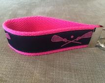 Navy Blue, Pink LAX, Lacrosse Sticks and Ball Jacquard Ribbon on Hot Pink Cotton Webbing Key Fob, Keychain, Wristlet, Lacrosse Keychain