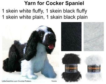 Yarn Khlopok (Hlopok) Travka, Swan's down to make 1 Cocker Spaniel in black and white