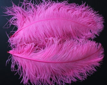 "One 18-20"" Hot Pink  Ostrich Drab Plume Feathers for Wedding decor Millinery S-4"