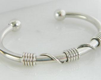 Vintage Sterling Silver Coil Cuff Bracelet