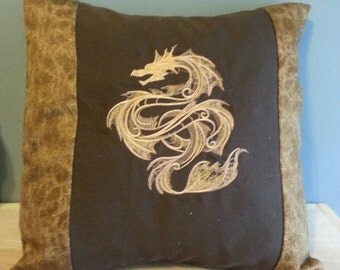 dragon handmade throw pillow cover brown with gold embroidered Dragon