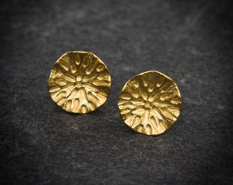 Organic Circle Stud Earrings - Sterling Silver or Gold Vermeil
