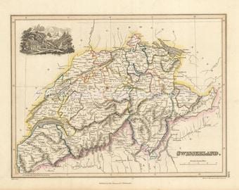 Switzerland Antique Map Wyld 1827 Original SKU:1827wyld-024