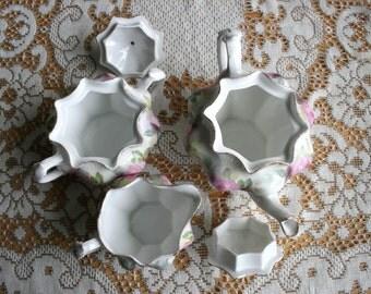 Genuine RS Prussia, porcelain Tea pot, creamer, sugar bowl 5 pc set.