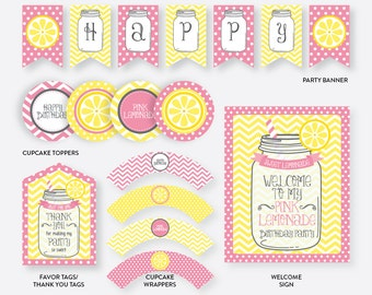 Instant Download, Pink Lemonade Party Package, Pink Lemonade Birthday Package, Lemonade Party Pack, Lemonade Party Printables (SKB.37)