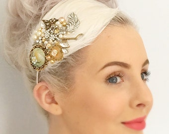 Bridal Feather Headpiece Vintage Ivory Wedding Headpiece Hair Accessory