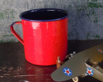 Blue and Red Enamelware / Large Mug / Scoop / Soup Bowl