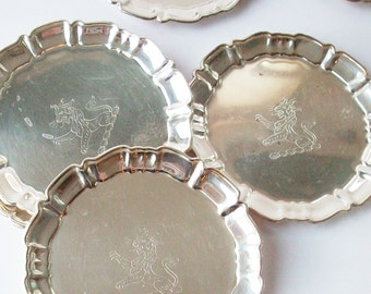 """Vintage English Silver / Tiny Plates /  Coasters  / Griffin Image stamped into each / 3 3/4"""" Inches"""