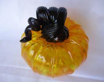 Black and Yellow Glass Pumpkin Hand Blown Solo Blown