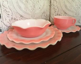 Hazel Atlas Crinoline Pink 5 piece place setting