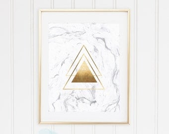 White Marble, Geometric Shapes Triangles, Classic Gold, Rose Gold Foil Wall Art Print, TWO Prints, Printable, Modern Decor, INSTANT DOWNLOAD