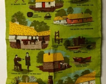 Vintage Irish Linen Collectible Kitchen Towel Folk Art Shannon Ireland New