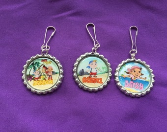 12 Personalized Jake and the Neverland Pirates Zipper Pulls, Party Favors