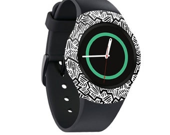Skin Decal Wrap for Samsung Gear S2, S2 3G, Live, Neo S Smart Watch, Galaxy Gear Fit cover sticker Abstract Black