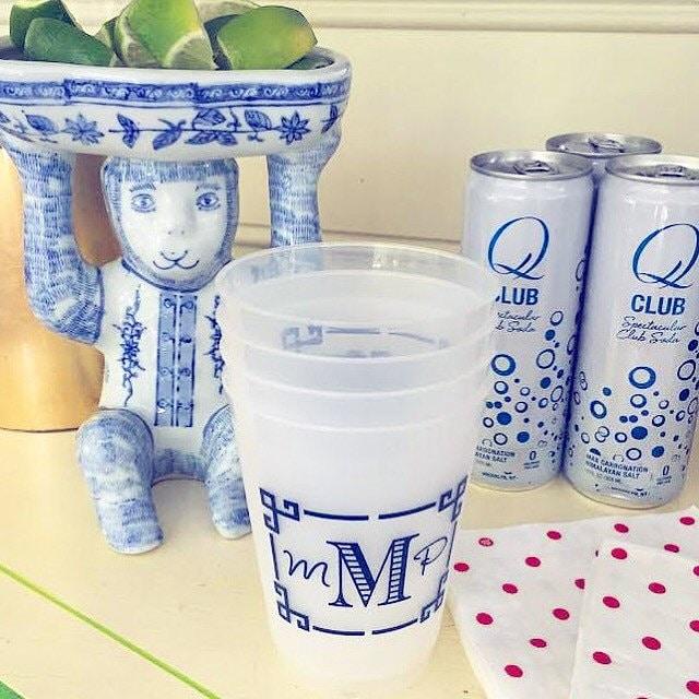 Personalized Plastic Cups Greek Key Monogrammed Shatterproof Cup Wedding Favors Reception