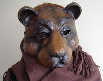Masquerade mask Paper mache animal mask Bear mask Face mask