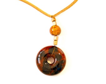 amber and goldviolett frit donut shape fused glass jewelry
