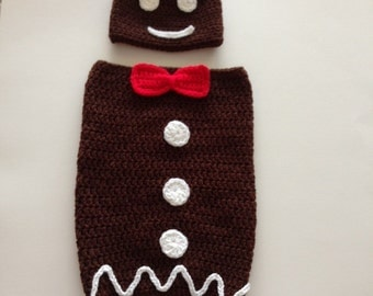 Hand crocheted Gingerbread man  cocoon and hat photo prop 0-3 months