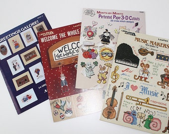 Music and Small Cross Stitch Designs - 4 Leaflets, PAT172