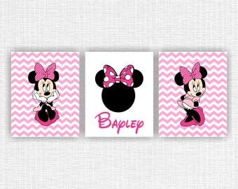 Minnie Mouse Wall Art Love Chevron Black Pink By