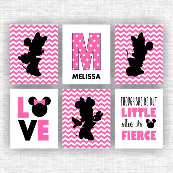 Minnie Mouse And Monogram Wall Art Love Though By