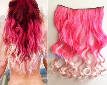 Pink to incarnadine color Ombre Hair Extension, Synthetic Hair extensions UF313