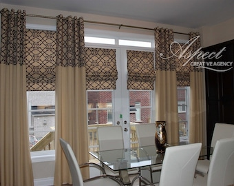 "Custom Linen Drapes ""Casanueva-Endeavor"", Grommet Panel, Beige Tones, Geometric coloured drapes, Drapery Panels, Made-to-Order"