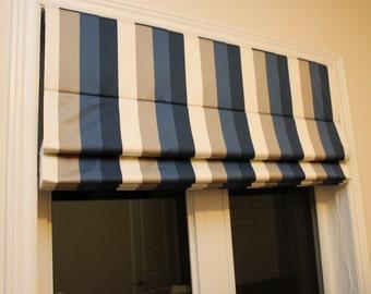 Satin Stripes Flat Roman Shade with chain mechanism, custom made