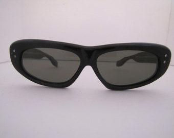 Vintage 1960s Long Horn Rim Italian Sunglasses (964 B/S)