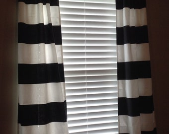 """One pair (2 panels)Black/White,Red/White,Navy/White, redCabana 25"""" X 63, 72, 84, 96, 108 dining, bedroom, den, living room Premier fabric"""