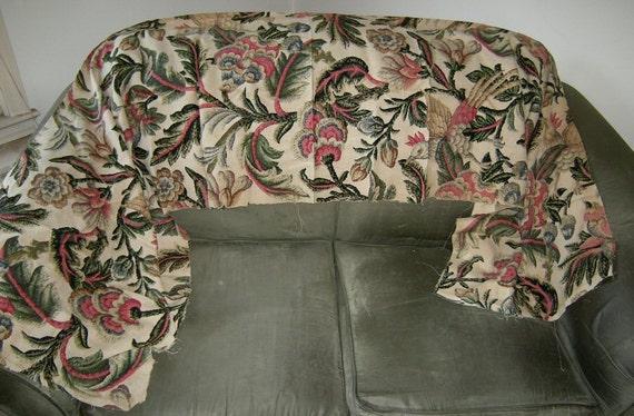 Lovely Vintage Floral Print Cotton Linen Fabric Remnant