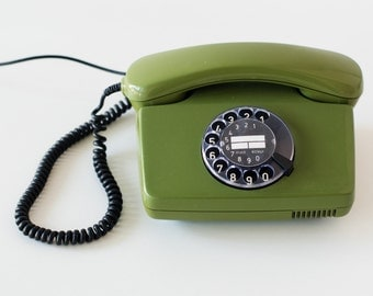 Rotary phone - Green rotary telephone - Retro telephone - Green phone - FeTAp 791-1