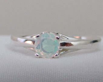 Ethiopian Opal Ring, Sterling Silver, 4.5mm Faceted Opal Gemstone, October Birthstone Jewelry, Promise Ring, Wedding Jewelry, Solitaire