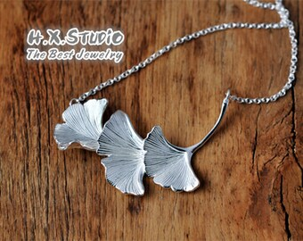 Handmade Silver Ginkgo Leaf Necklace, Solid Silver Ginkgo Leaf Necklace, Anniversary, Birthday, Christmas, Gift, Wholesale Available