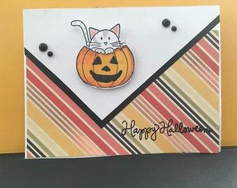 Happy Halloween Kitten with Pumpkin