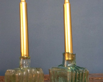 Antique glass bottle inkwell apothecary candle stick holders