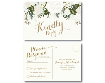 Vintage Wedding RSVP Postcard, Fall Wedding, Vintage Floral, Floral Wedding, Vintage Wedding, RSVP Postcard, Wedding Postcard, RSVP #CL112
