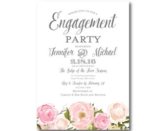 Floral Engagement Party Invitation, Country Chic, Floral Wedding, Fall Wedding, Rustic Wedding, Printed Engagement Party Invitations #CL114