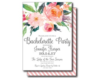 Rustic Bachelorette Party Invitation - Country Chic - Watercolor Floral - Floral Wedding - Rustic Wedding - Printable Wedding Invitation