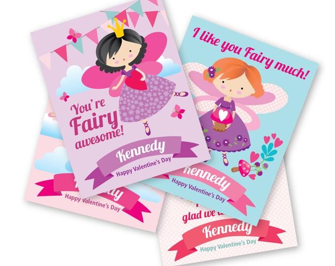 Fairy Valentines Day Cards - printable DIY card classroom, Valentine printable custom text, print for kids classroom, Valentine's Fairy