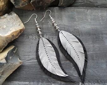 Long silver earrings. Feather earrings. Leather feather earrings. Boho earrings. Tribal earrings. Bohemian earrings. Dangle feather earrings