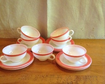 PINK PYREX! Set of Seven(7) CUPS and Saucers. Flamingo Pink Shade on White.