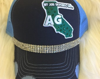 Navy & Blue Hat- Bling- California Patch- My Job Depends On AG- Landfill Dzine