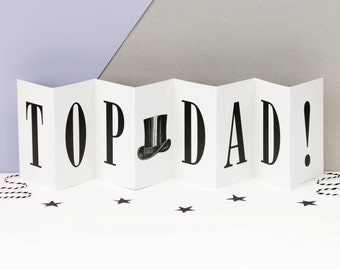 Birthday Card For Dad; 'Top Dad!'; Black and White Concertina Card; Personalised Father's Day Card; Daddy Card; Dad Card; CC008