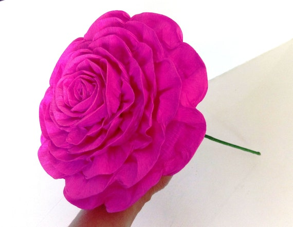 Large giant crepe paper flower roses hot pink kate inspired for Crepe paper wall flowers