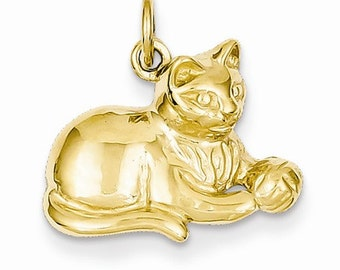 14K Yellow Gold Cat Kitty with Ball Open Back Pendant Charm LKQA9166